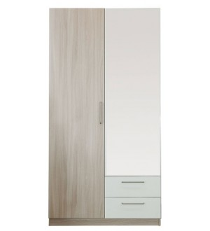 Шкаф Эконом 2х дверный  с зеркалом белые вставки