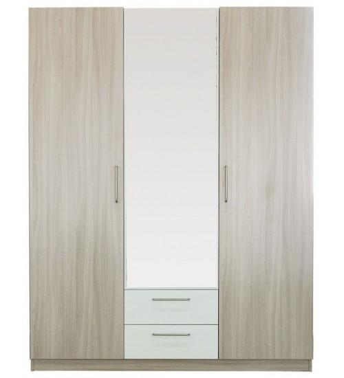 Шкаф Эконом 3х дверный  с зеркалом белые вставки